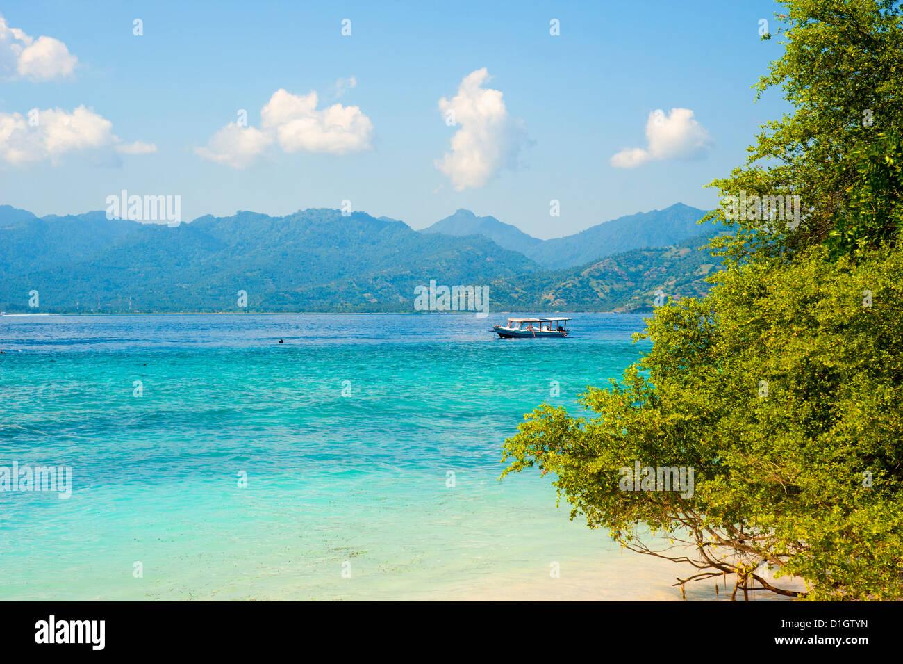 Lombok, visto desde Gili Meno, Gili Islands, Indonesia, Sudeste Asiático, Asia Imagen De Stock