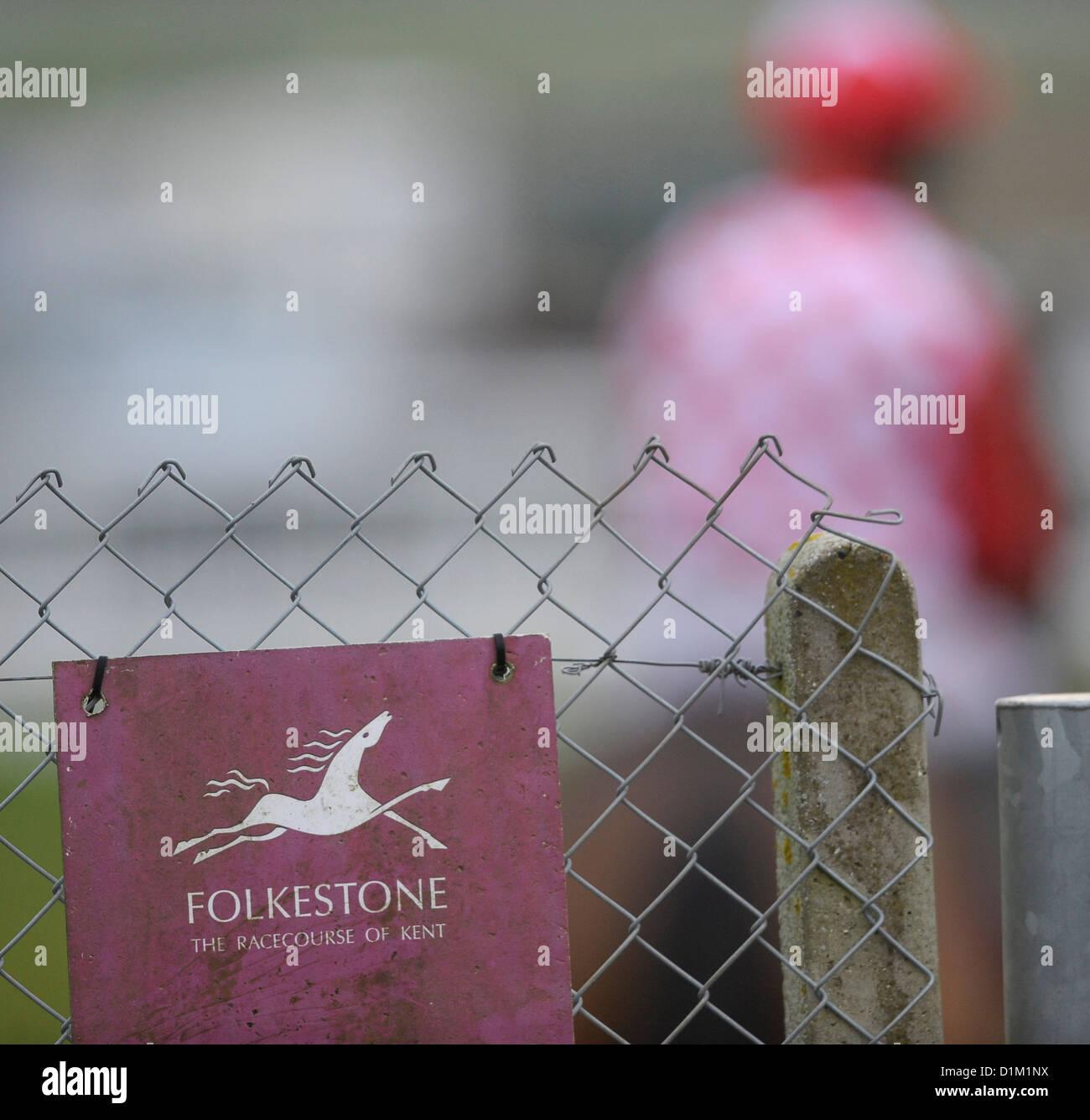 La última reunión en el Hipódromo de Folkestone, Westenhanger, Kent, el 18 de diciembre de 2012. Imagen De Stock