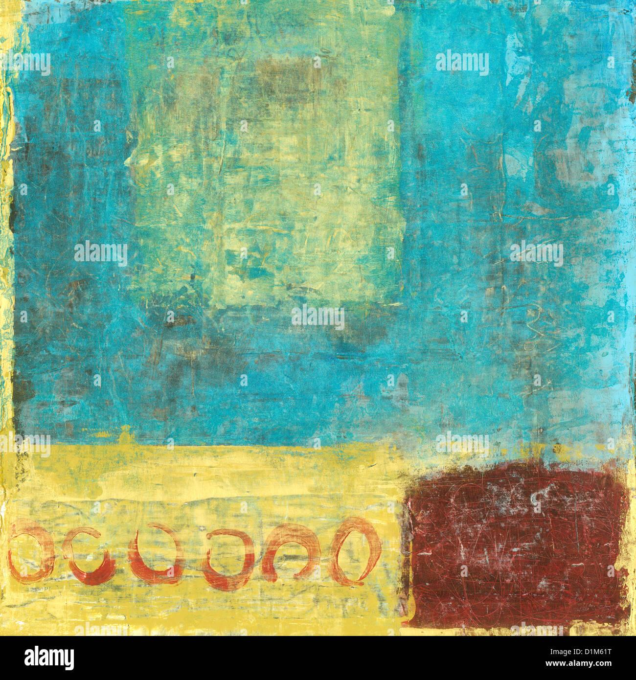 La pintura abstracta con rojo y oro y azul. Imagen De Stock