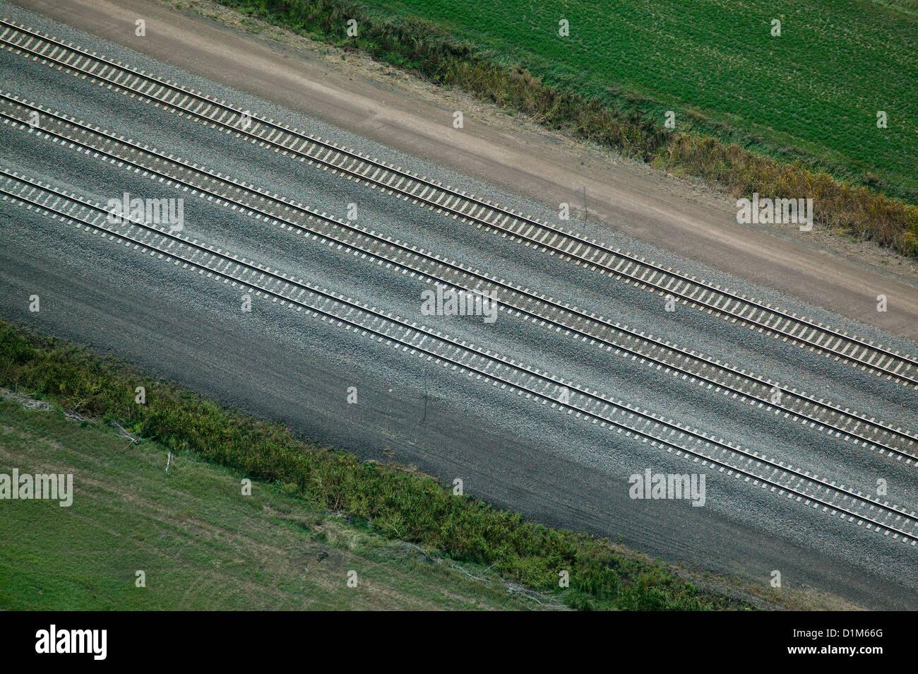 Fotografía aérea Union Pacific de vías de ferrocarril, Nebraska Imagen De Stock