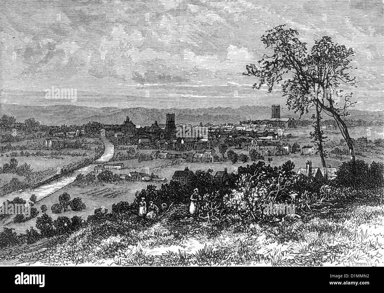 Leeds a comienzos del siglo XVIII, la ilustración en blanco y negro Foto de stock