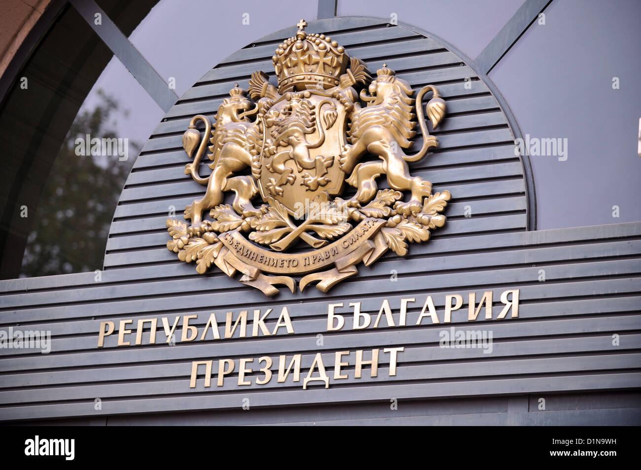 Oficina del Presidente firmar, Sofía, Bulgaria Foto de stock