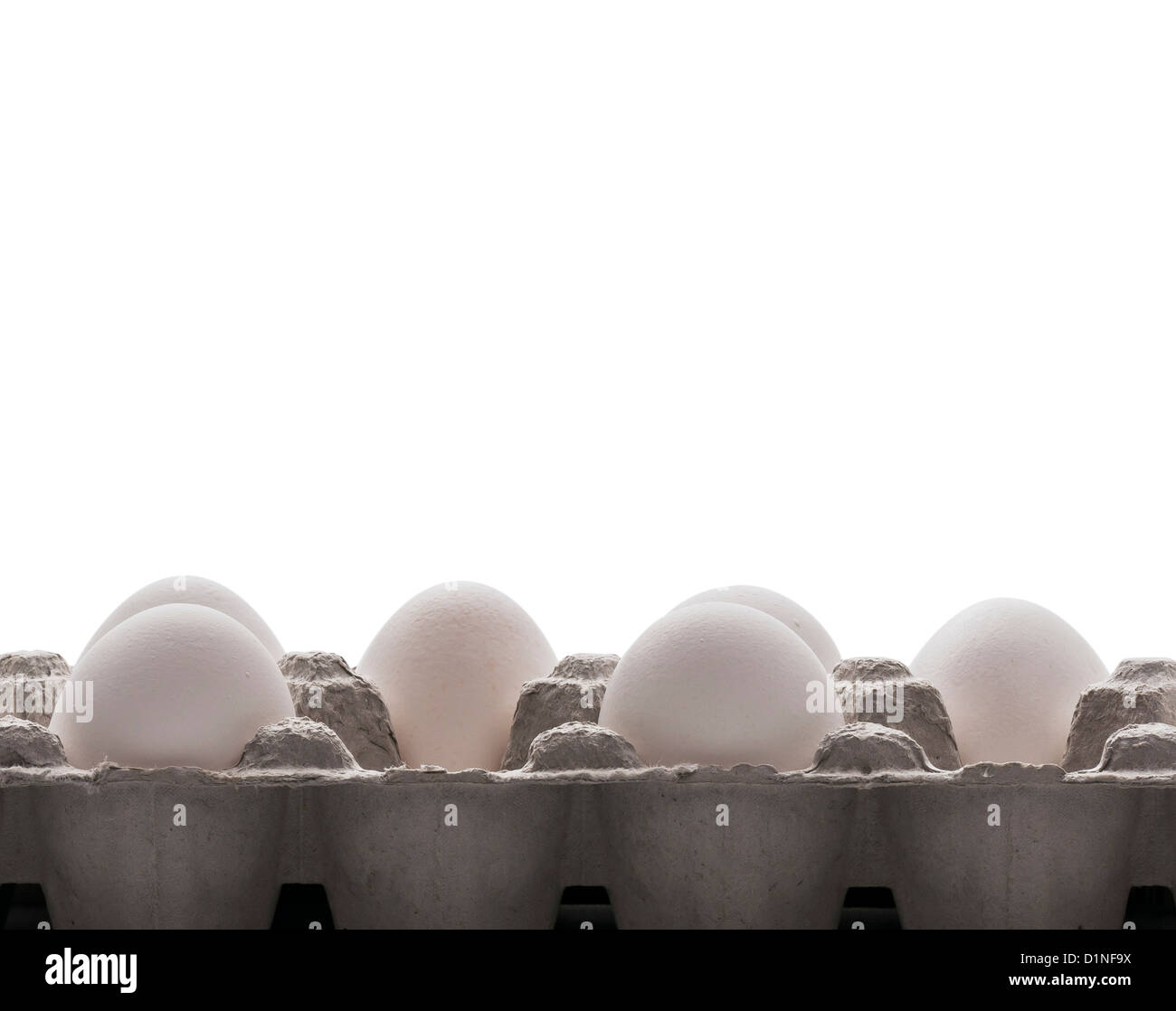 Los huevos y el cartón en un fondo blanco. Mucha textura. Imagen De Stock
