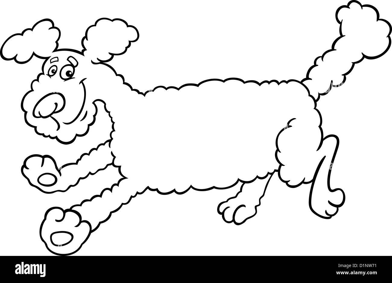 Ilustración caricatura en blanco y negro de lindo perro caniche ...