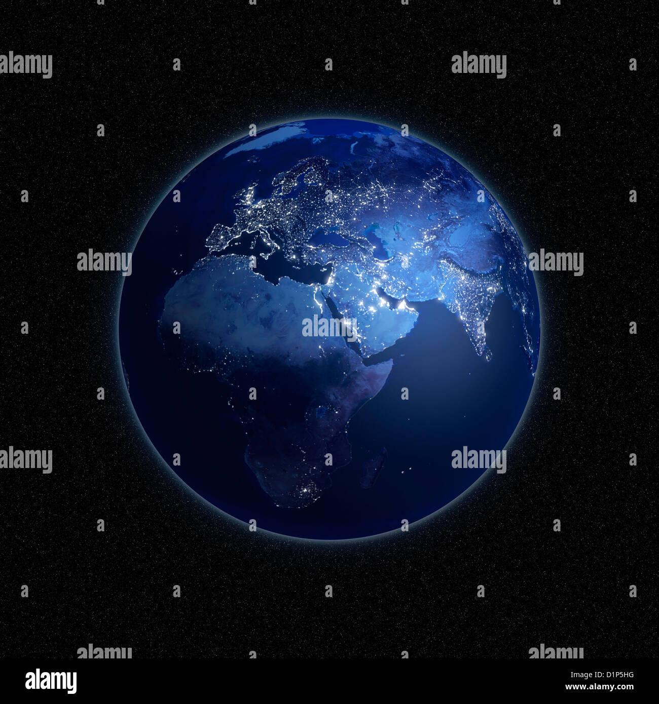 La tierra por la noche, las ilustraciones Imagen De Stock
