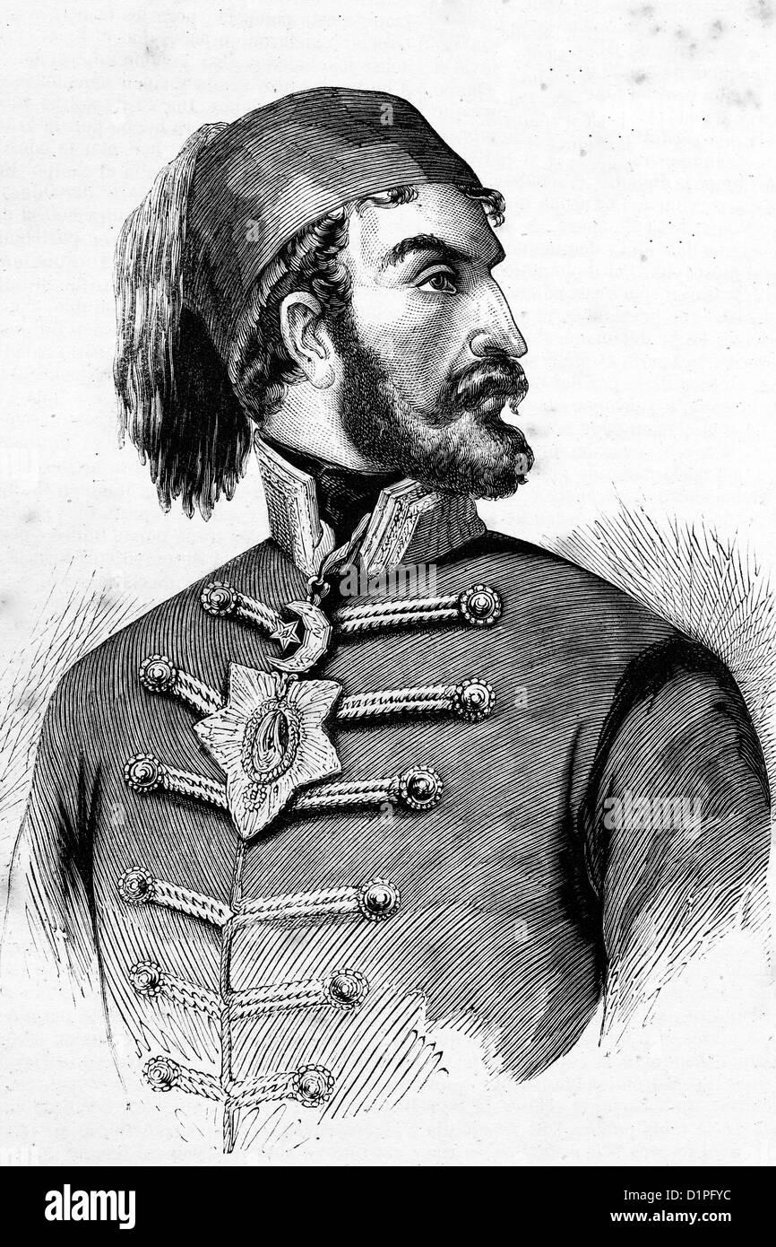 Omer Pacha o Omar Pasha (1806-1871) y gobernador general otomano. Ilustración de antigüedades, 1856. Foto de stock