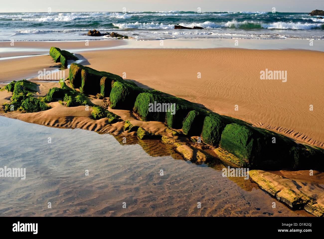 Portugal, Algarve: reflujo en la playa Praia da Amoreira en Aljezur Foto de stock