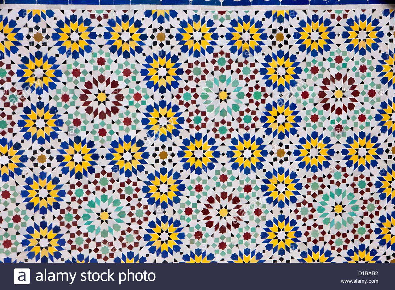 Marruecos, Tamegroute, cerca de Zagora, Mosaico. Imagen De Stock