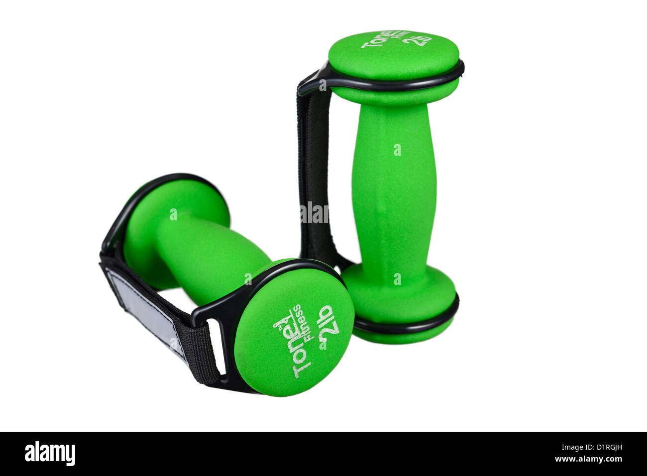 Pesas, tono, caminar fitness fitness mancuernas con correas ajustables Foto de stock
