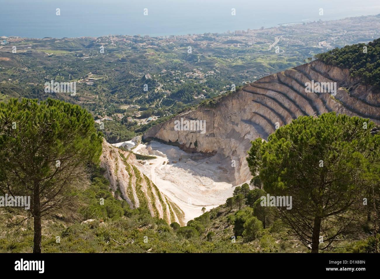 Cantera agregado Sierra de Mijas Málaga Andalucía España Imagen De Stock