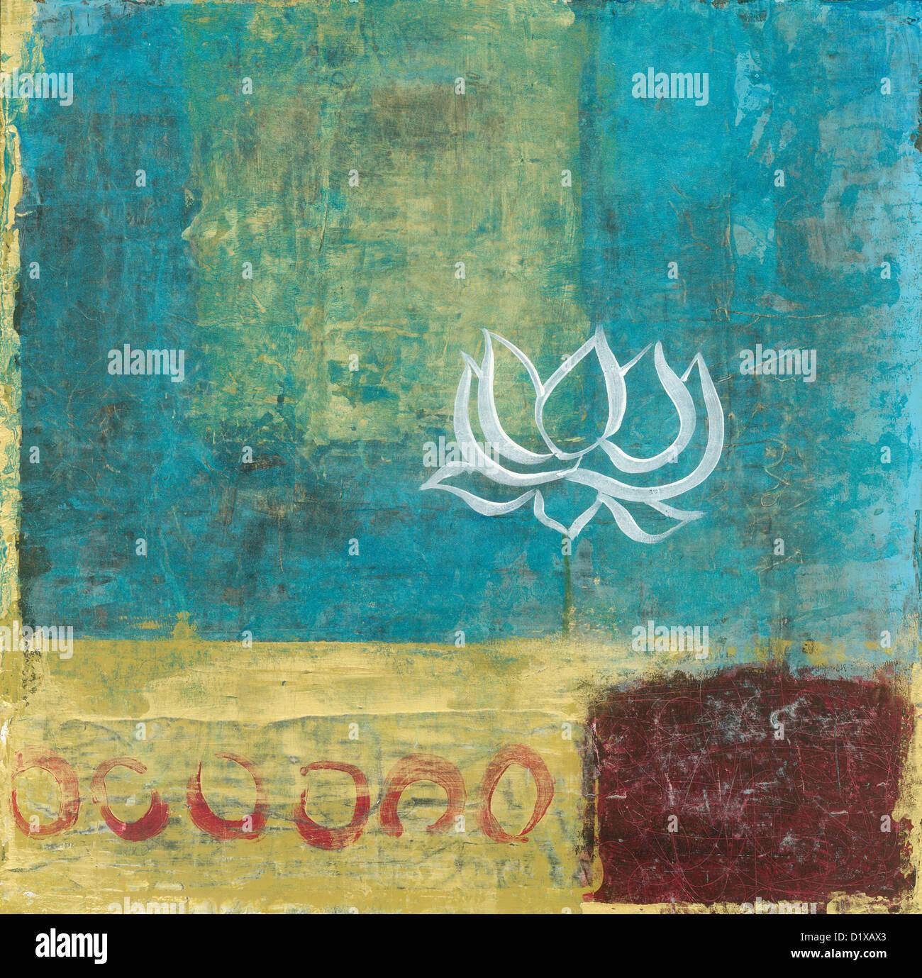 Resumen Antecedentes La pintura con una simple flor de cartas. Imagen De Stock