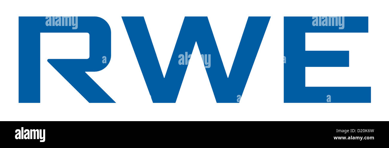 Logotipo de la empresa de energía alemana RWE AG, con sede en Essen. Imagen De Stock