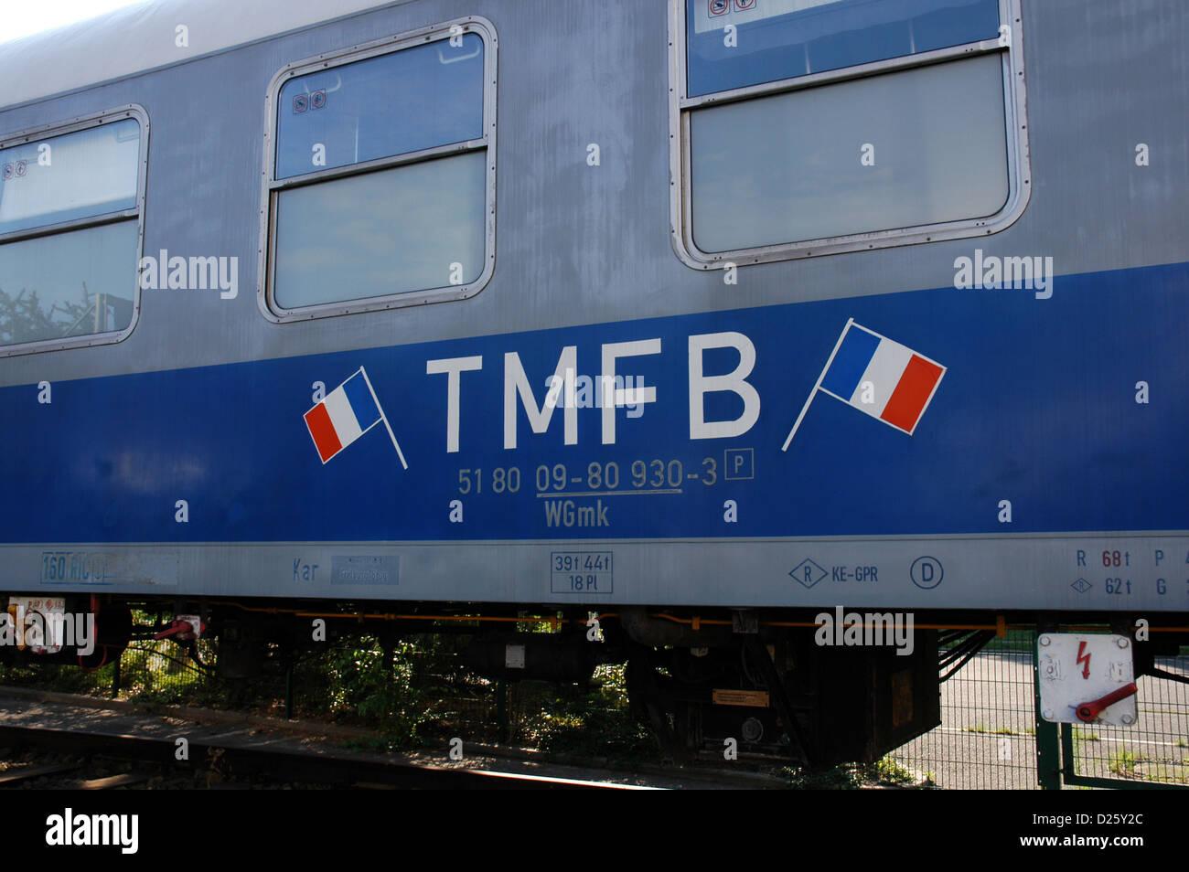 Vagón de un tren militar francés que cubría la ruta Berlín-Estrasburgo. Durante la Guerra Fría. Imagen De Stock