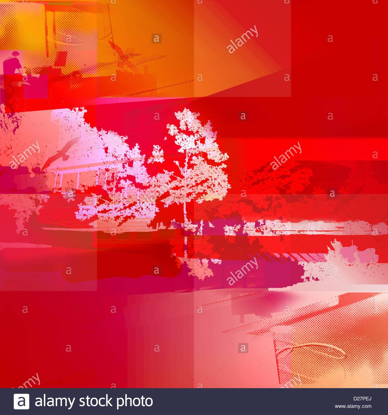 Resumen de Edificio vibrante y árbol Imagen De Stock