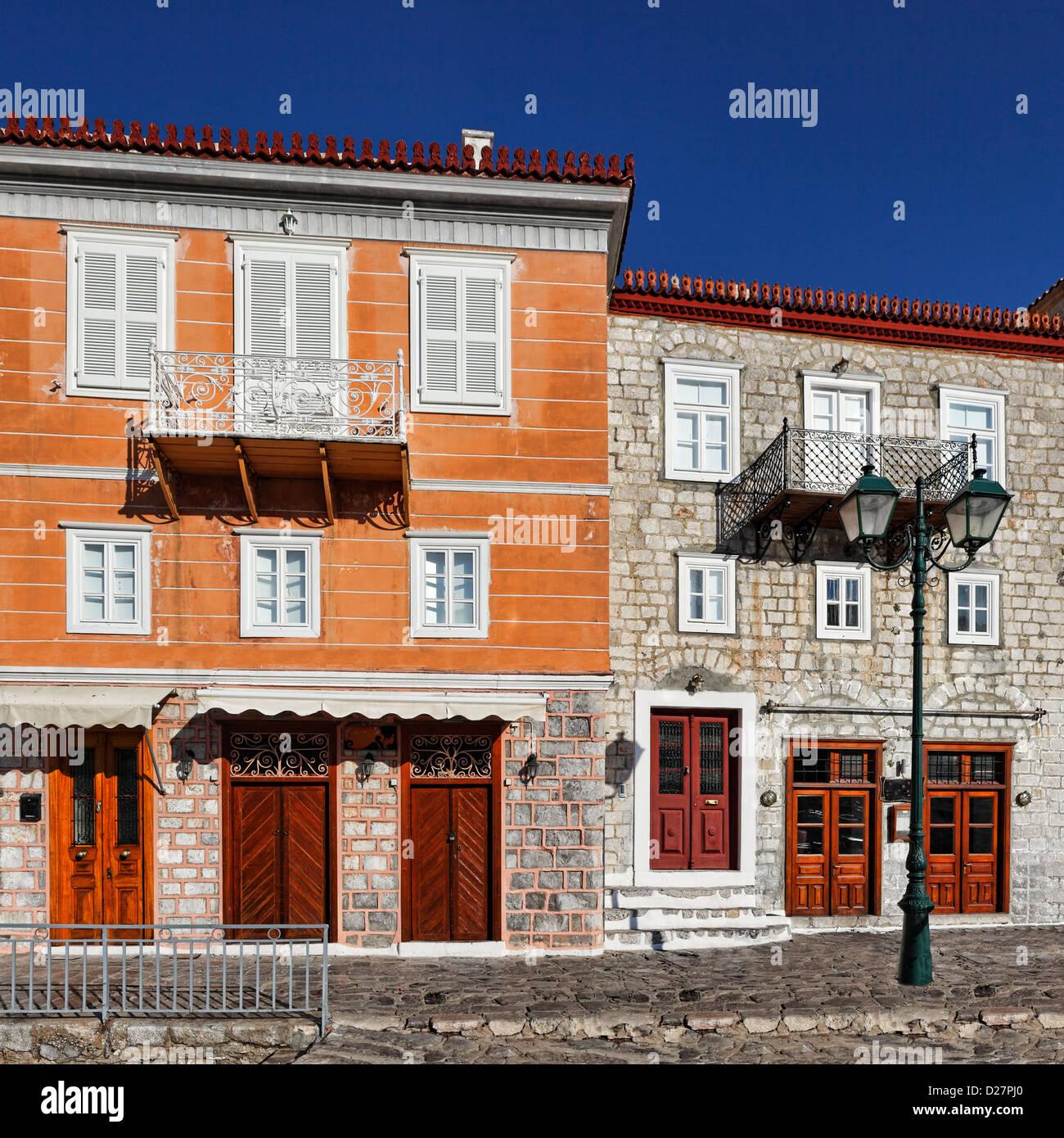 Mansiones tradicionales en Hydra, Grecia Imagen De Stock