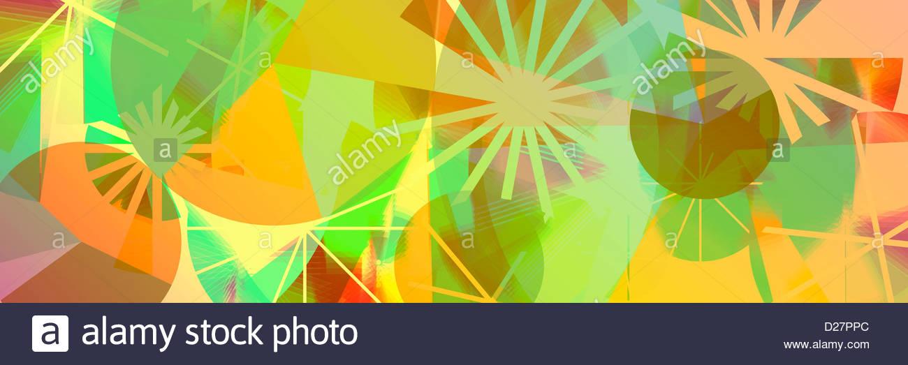 Resumen vibrante de líneas y círculos Foto de stock
