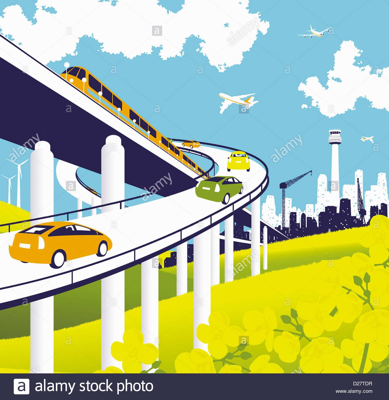Niveles elevados de carretera y ferrocarril con el tren, coches y aviones Imagen De Stock
