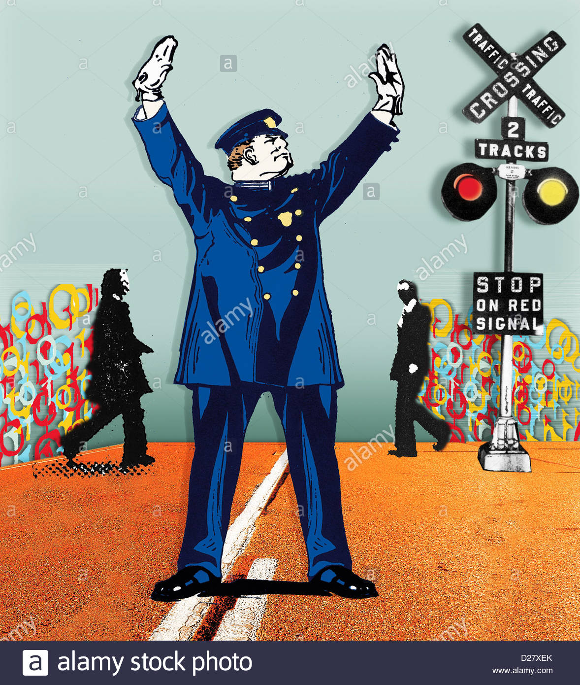 Policía detenga el tráfico en el cruce ferroviario de empresarios Imagen De Stock