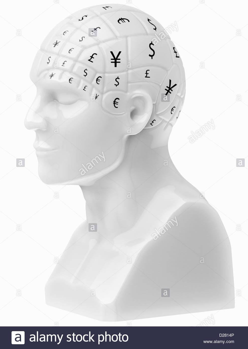 Los símbolos de moneda que cubre el cerebro en busto Foto de stock