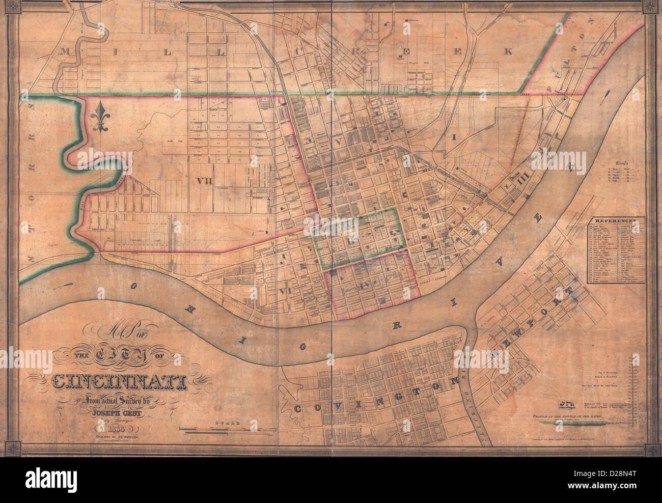 Mapa De La Ciudad De Cincinnati Ohio Circa 1838 Foto Imagen De