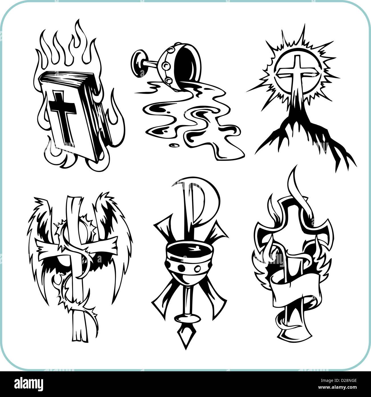 La religión cristiana - ilustración vectorial. Imagen De Stock
