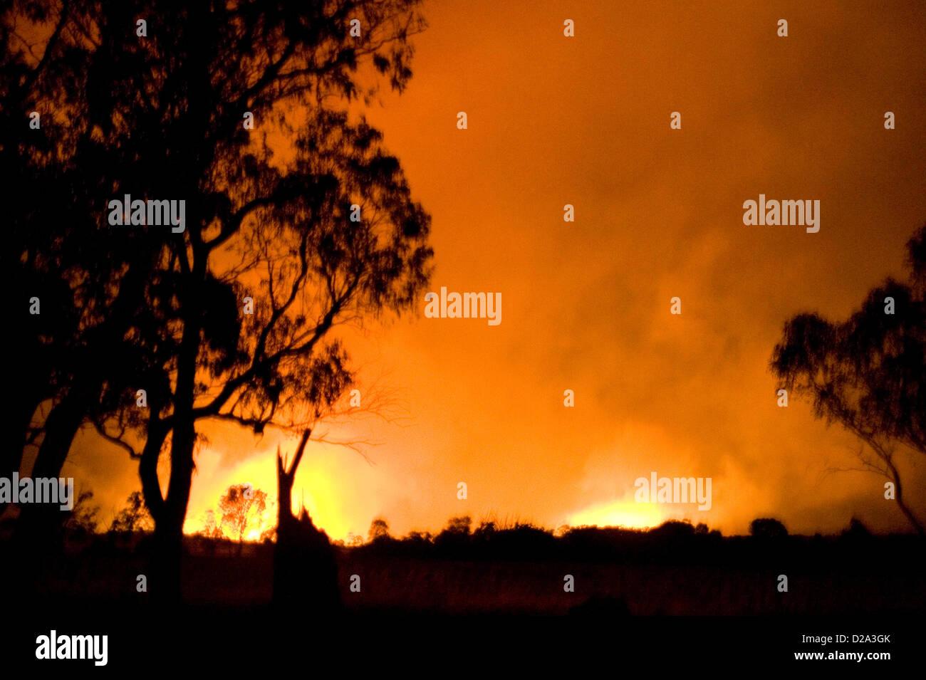 Heyfield, Victoria, Australia. El 18 de enero de 2013. Los incendios forestales queman fuera de control, lagrimeo Imagen De Stock