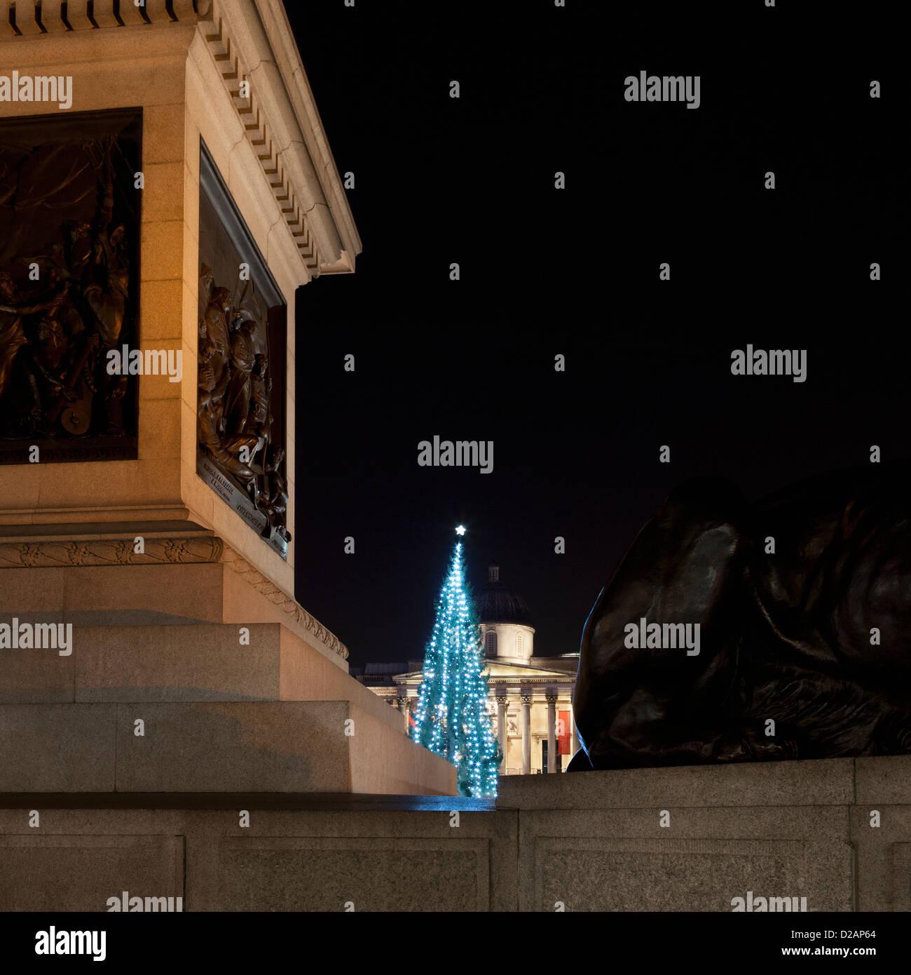 Árbol de Navidad iluminado en la plaza de la ciudad Imagen De Stock