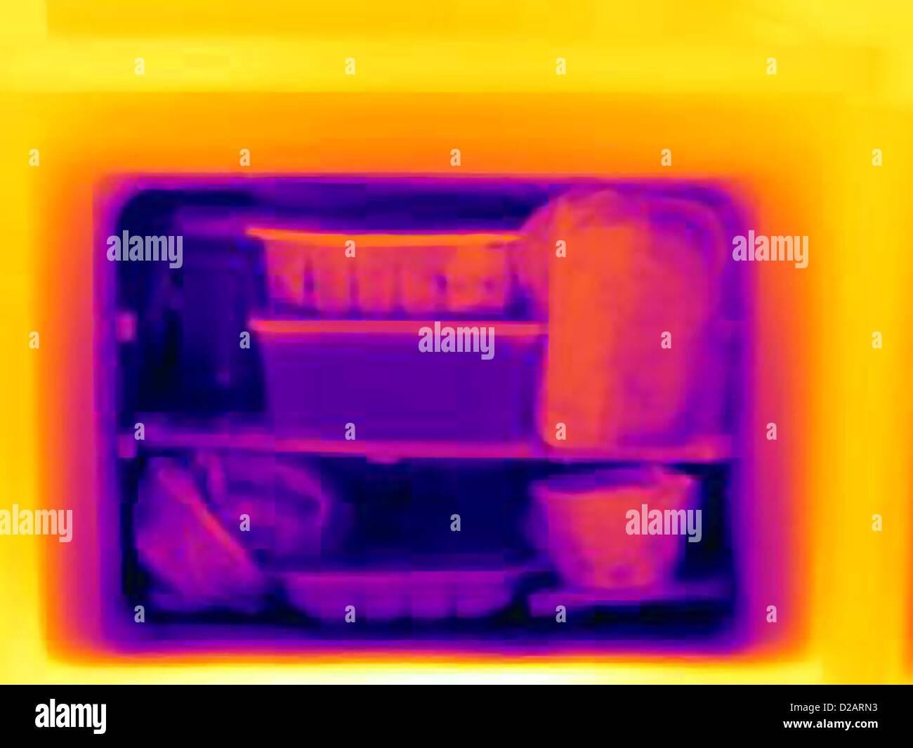 Imagen térmica del congelador Foto de stock