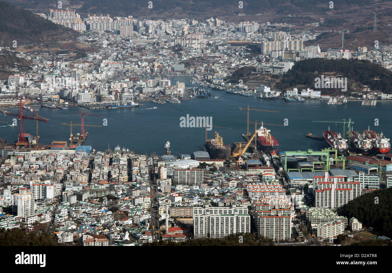 Corea del Sur: Tongyeong vista de la ciudad Foto de stock
