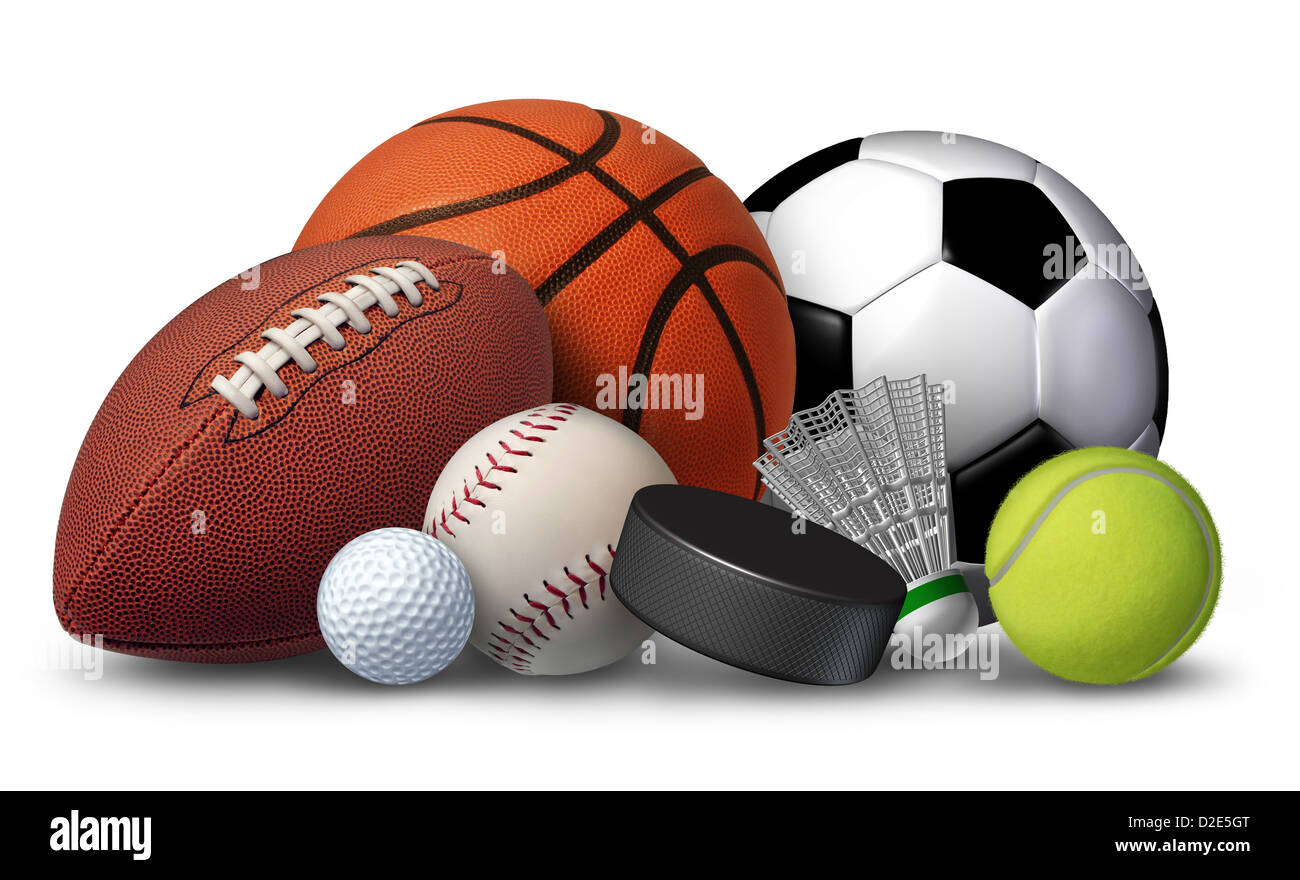26e43fdc3043e Deportes de equipo con un fútbol baloncesto fútbol béisbol bola de golf y  tenis y badminton hockey puck como recreación y ocio divertidas actividades  ...