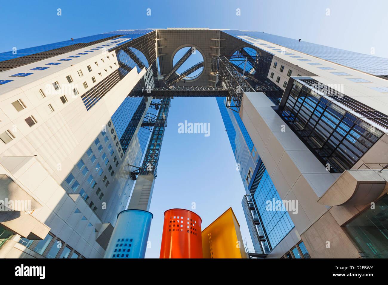 Japón, Honshu, Kansai, Osaka, Umeda, Umeda Sky Building y el Observatorio del Jardín Flotante Foto de stock