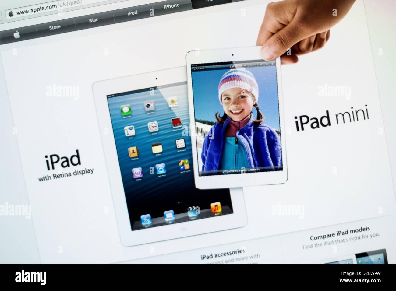 Apple iPad Mini website cerrar Imagen De Stock