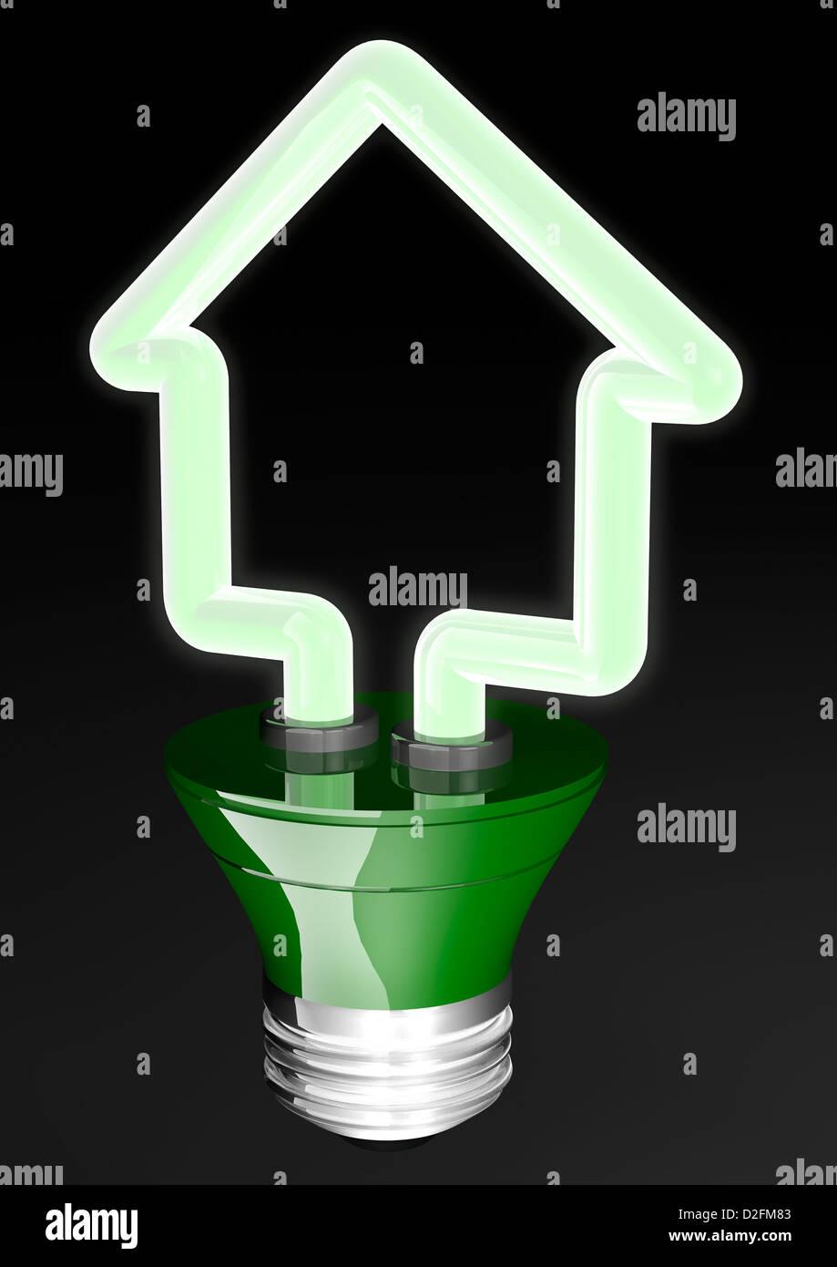 Bombilla de luz verde de ahorro de energía en la forma de una casa - Concepto de energías renovables Eficiencia Imagen De Stock