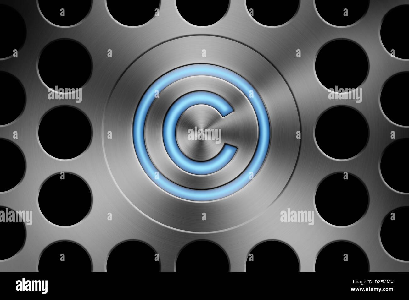El botón del símbolo de copyright sobre un fondo estilo Mac silver Foto de stock
