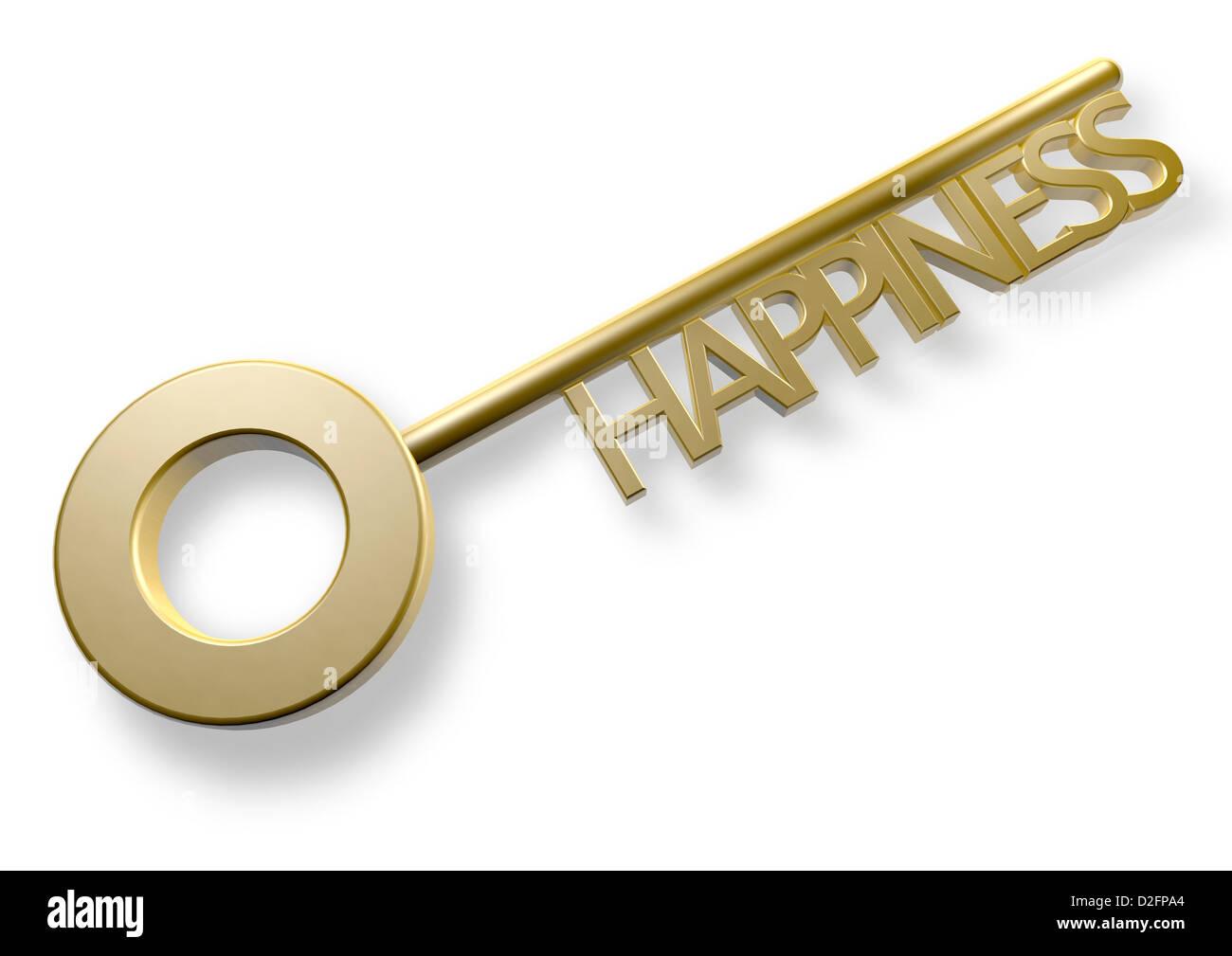 Llave de Oro con la palabra clave para la felicidad, la felicidad imagen concepto Imagen De Stock