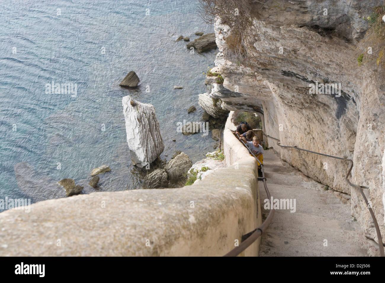 Córcega: Bonifacio - Escalier du Roi d'Aragon pasos [187] Foto de stock