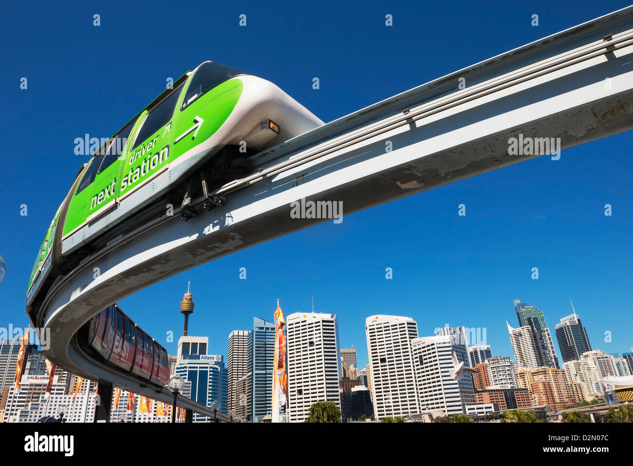 Monorail en Darling Harbour, Sydney, New South Wales, Australia, el Pacífico Imagen De Stock