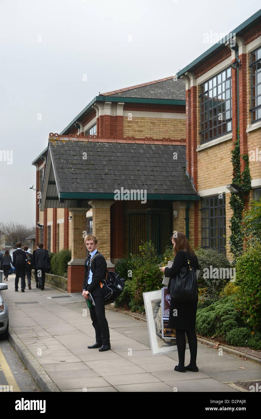 Vista general de Patés Grammar School en Cheltenham, Gloucestershire, Reino Unido Foto de stock