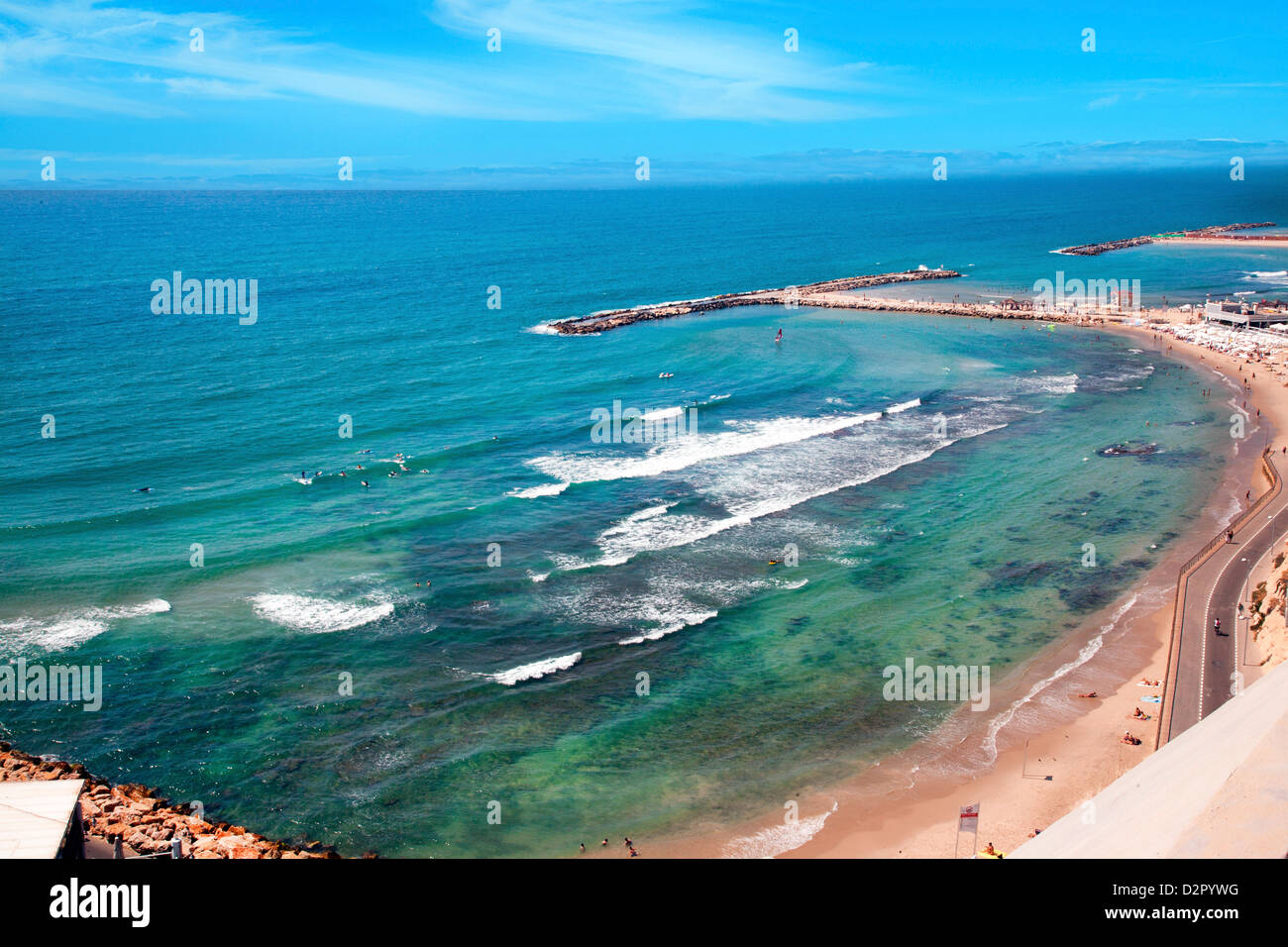 En el norte de la playa de Tel Aviv, Tel Aviv, Israel, Oriente Medio Imagen De Stock