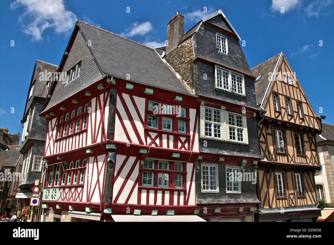 Casas con entramados de madera medieval, la ciudad vieja, de Morlaix, Finisterre, Bretaña, Francia, Europa Foto de stock