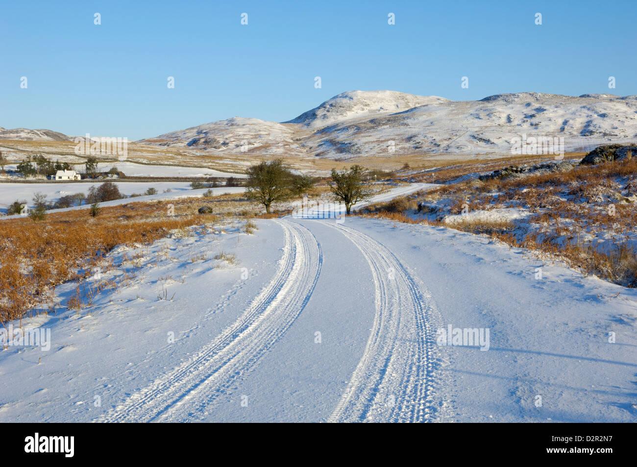 Carretera en invierno la nieve, Dumfries y Galloway, Escocia, Reino Unido, Europa Foto de stock