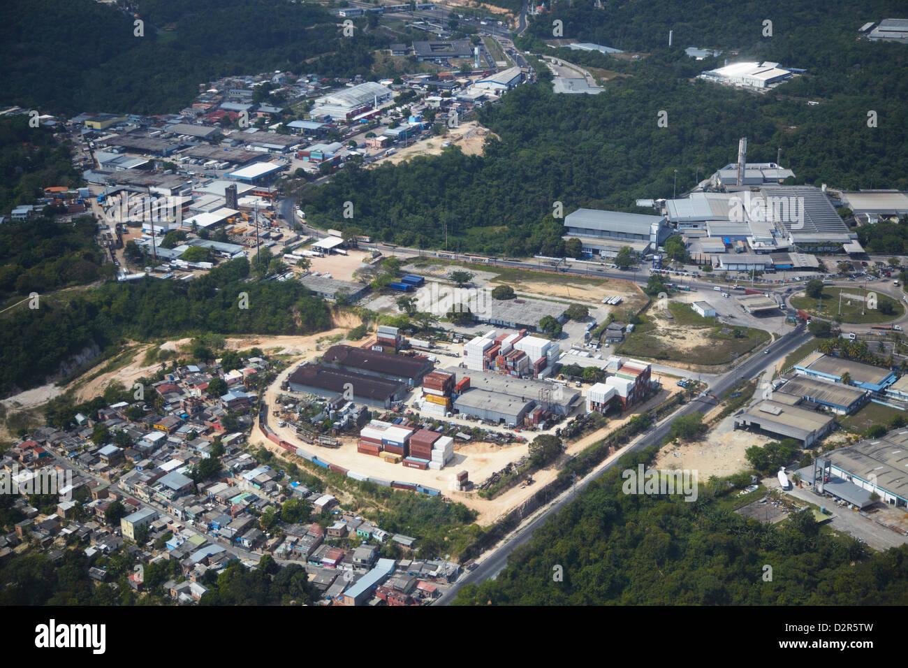 Vista aérea del polígono industrial, Manaus, Amazonas, Brasil, América del Sur Imagen De Stock