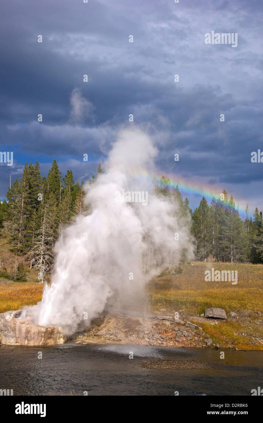 Riverside géiser, Upper Geyser Basin, el Parque Nacional Yellowstone, Wyoming, EE.UU. Imagen De Stock