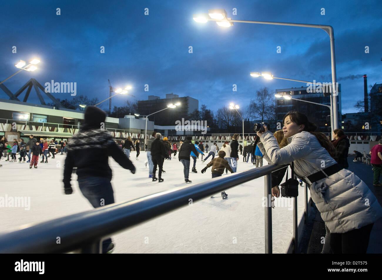 Berlín, Alemania, pista de patinaje sobre hielo en la boda de Erika Hess Imagen De Stock