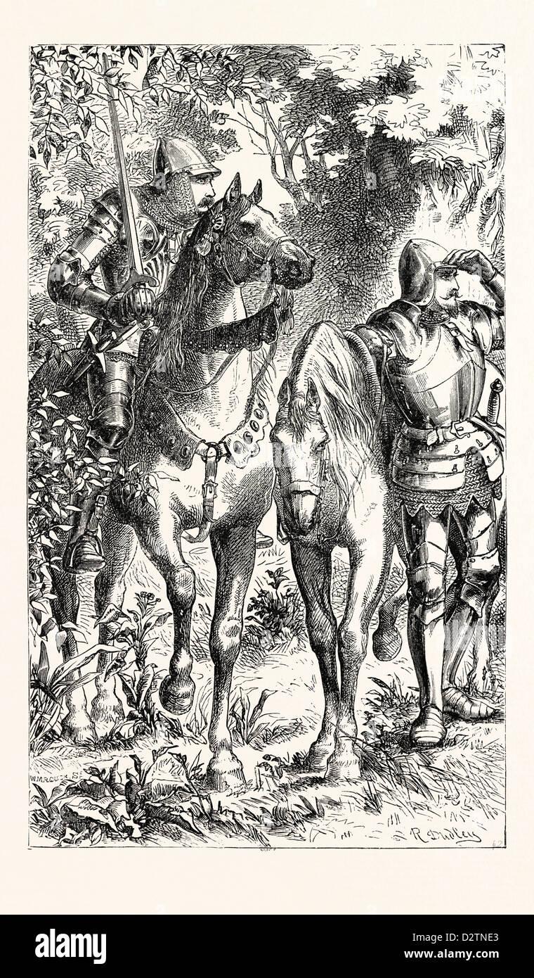 Guerreros armados del siglo XIV. Imagen De Stock