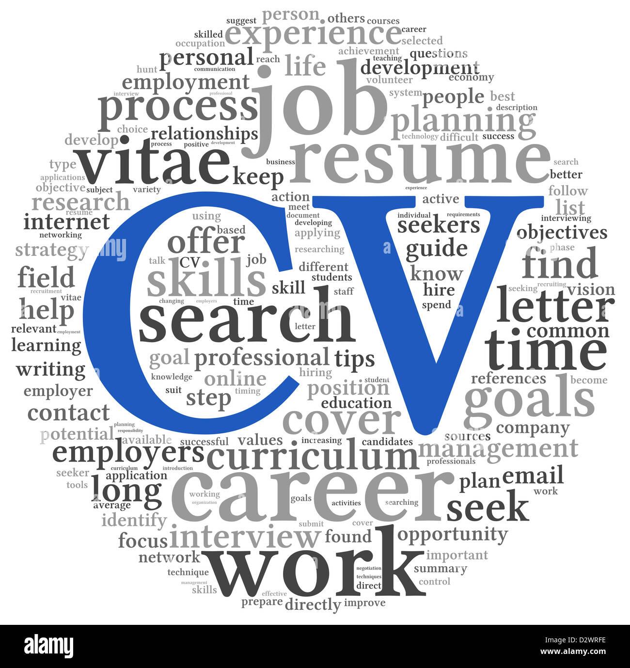 CV Curriculum vitae concepto en word nube de etiquetas sobre fondo ...