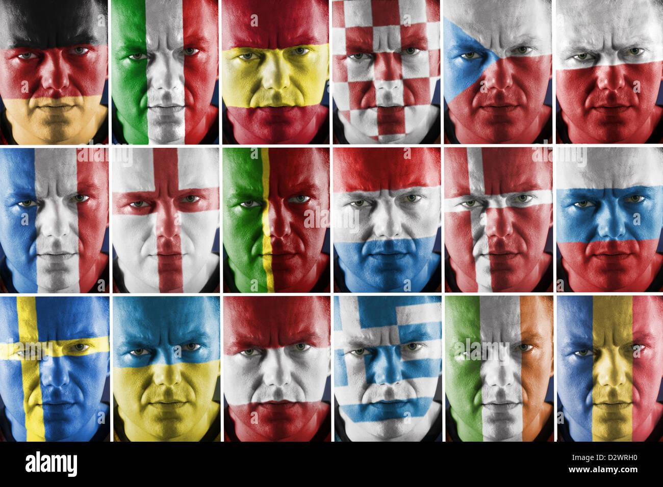 Collage de deporte partidario rostro pintado en el gran país europeo los colores de la bandera nacional Foto de stock