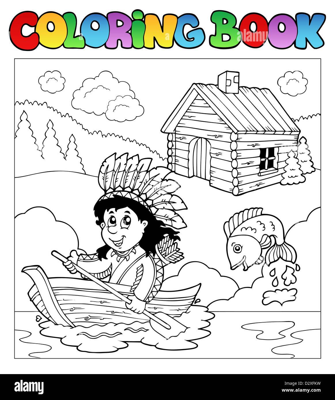 Libro para colorear con Indio en barco - Ilustración temática Foto ...