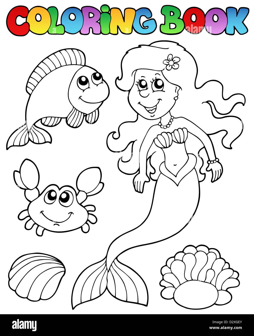 Libro para colorear con sirena - Ilustración temática Foto & Imagen ...