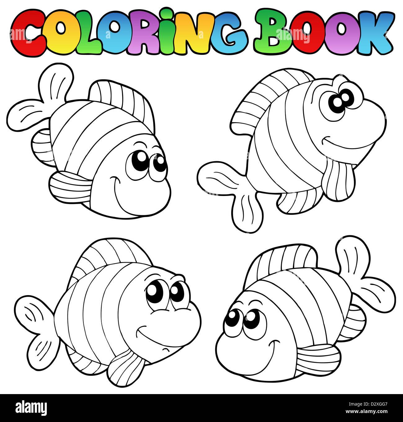 Libro para colorear con peces rayas - Ilustración temática Foto ...